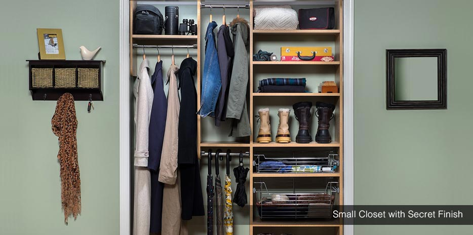 Small Closet with Secret Finish