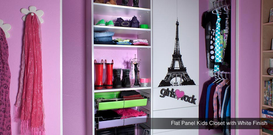 Flat Panel Kids Closet with White Finish