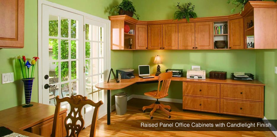 Raised Panel Office Cabinets with Candlelight Finish