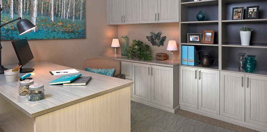 Concrete Custom Home Office Cabinets