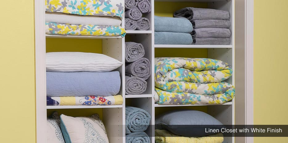 Linen Closet with White Finish