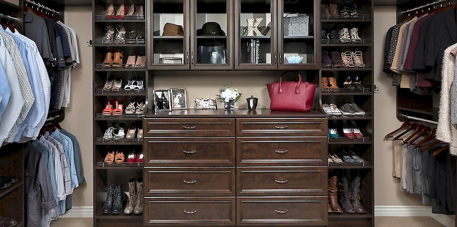 Custom Walk In Closet with Chocolate Pear Finish