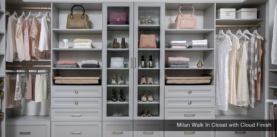Milan Custom Walk In Closet With Cloud Finish